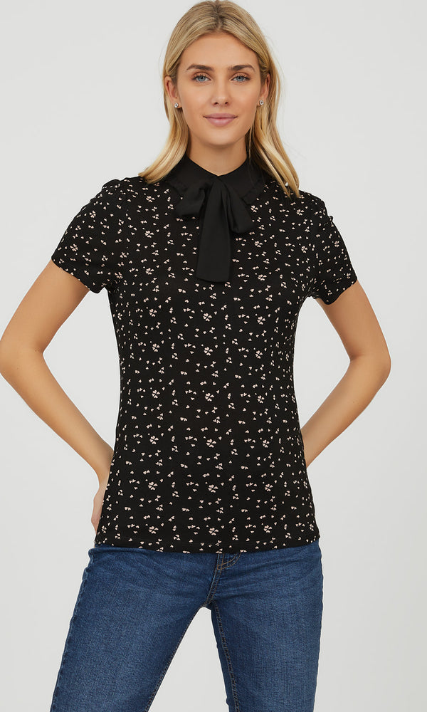 Bow Tie Peter Pan Collar Knit Top