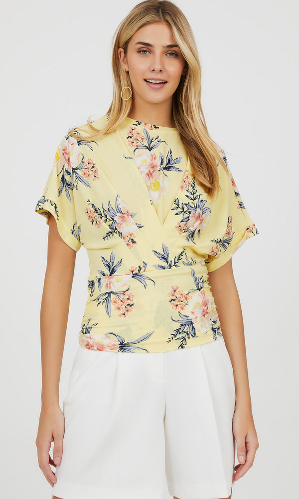 Short Sleeve Pleated Floral Crepe Knit Top