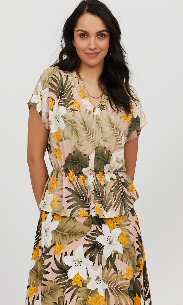 Short Sleeve V-Neck Ruffle Tropical Print Top