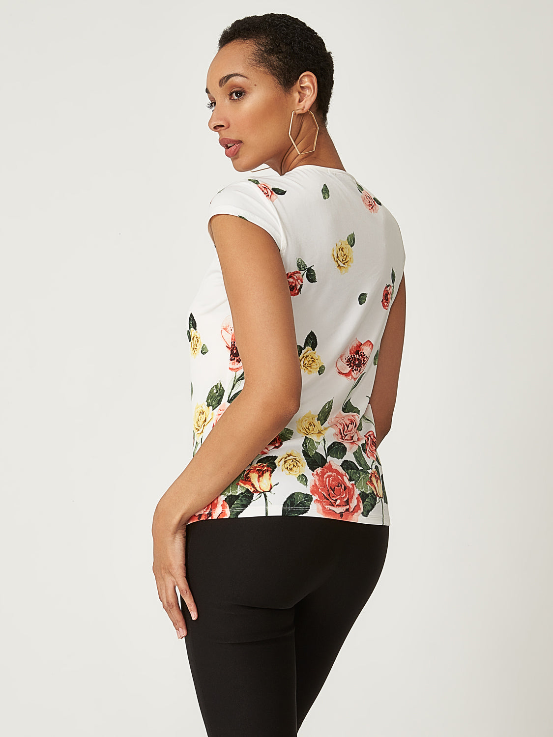 Printed Floral Bow Top