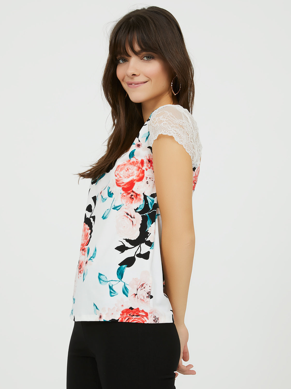 Floral Lace & Crepe Top with Back Bow