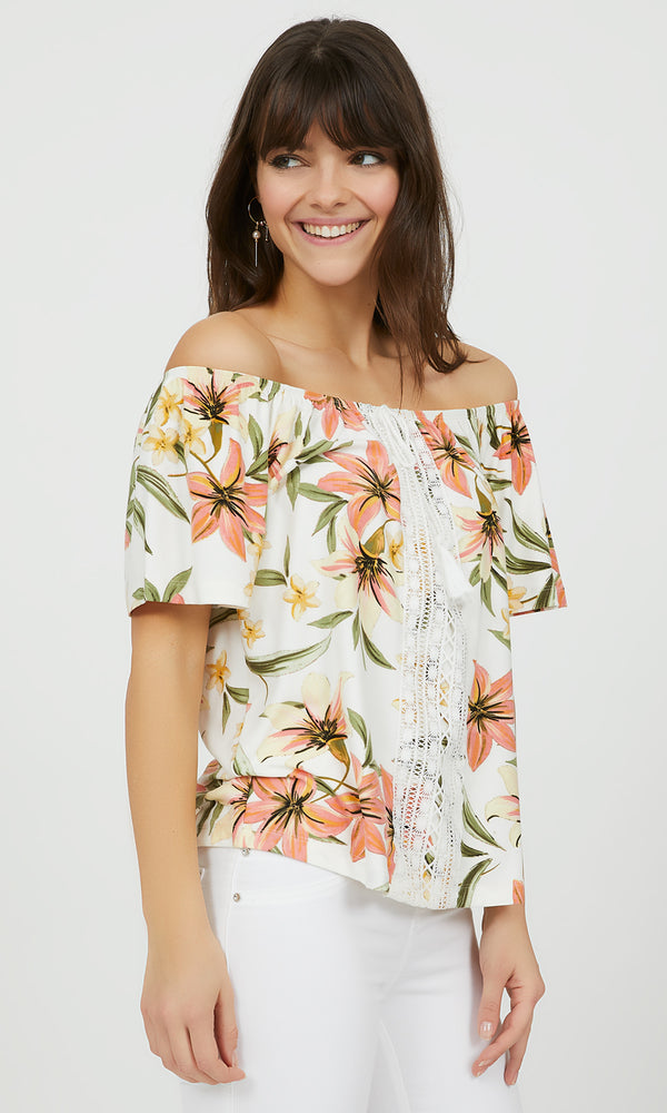 Off-The-Shoulder Floral Crochet Top