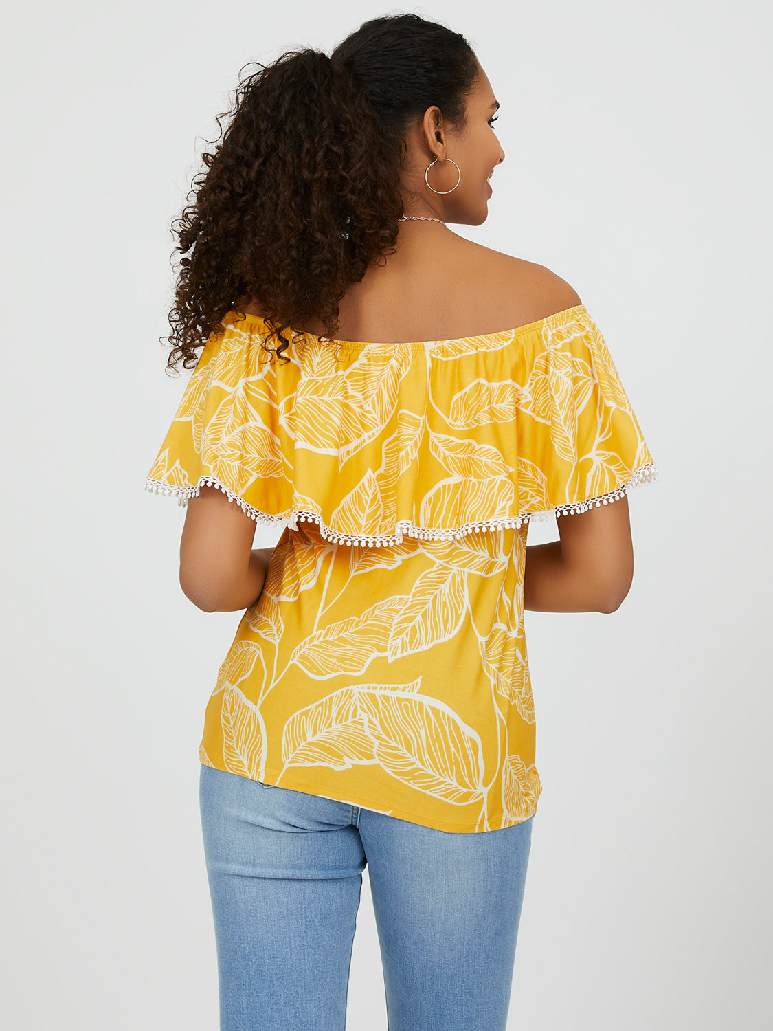 Printed-Off-The-Shoulder Flounce Top