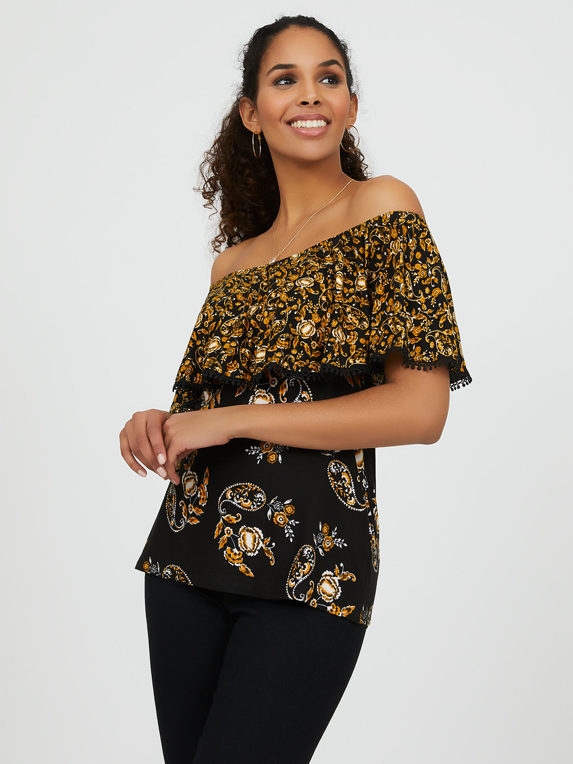 Off-The-Shoulder Paisley Crochet Top