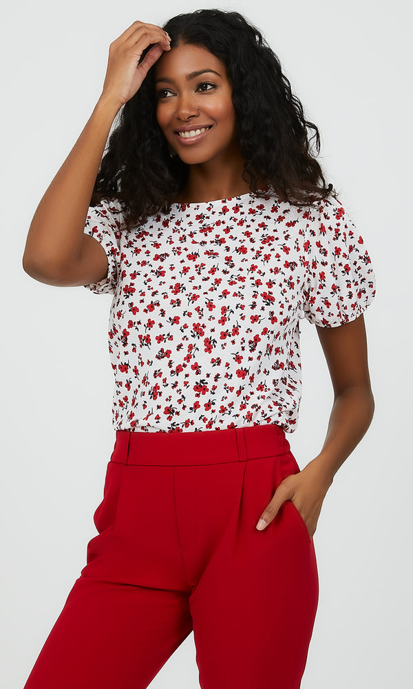 Short Puff Sleeve Floral Top