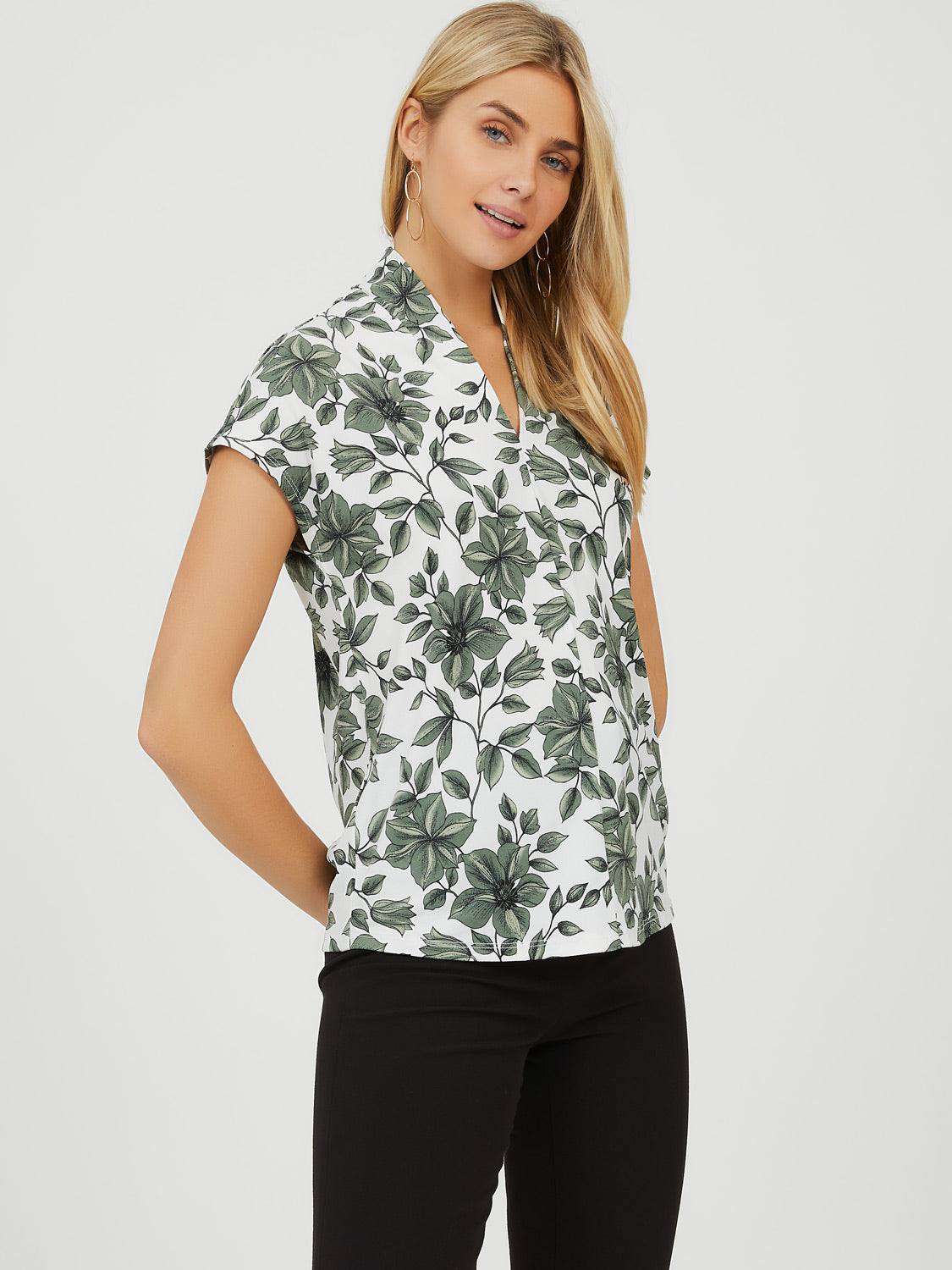 Pleated Crepe Knit Floral Top