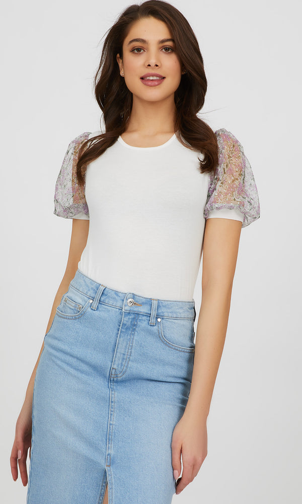Floral Elbow Mesh Sleeve Crepe Knit Top