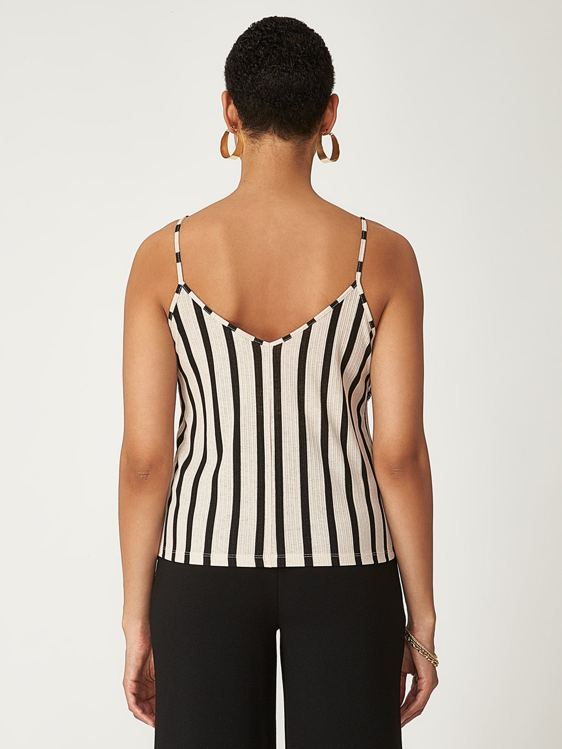 Striped Lace Sleeveless Top