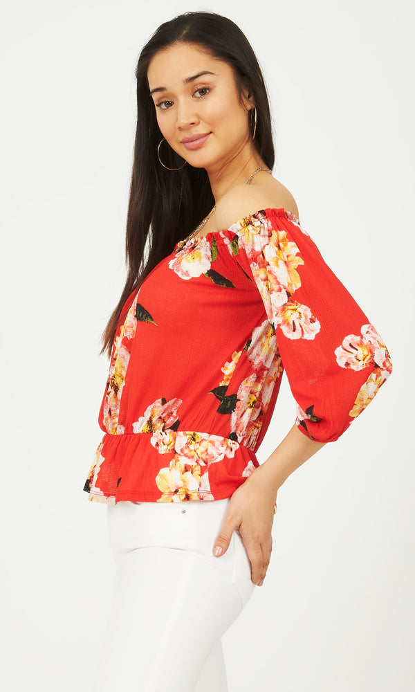 683a2d16b2280 3 4 Sleeve Off-The-Shoulder Top ...