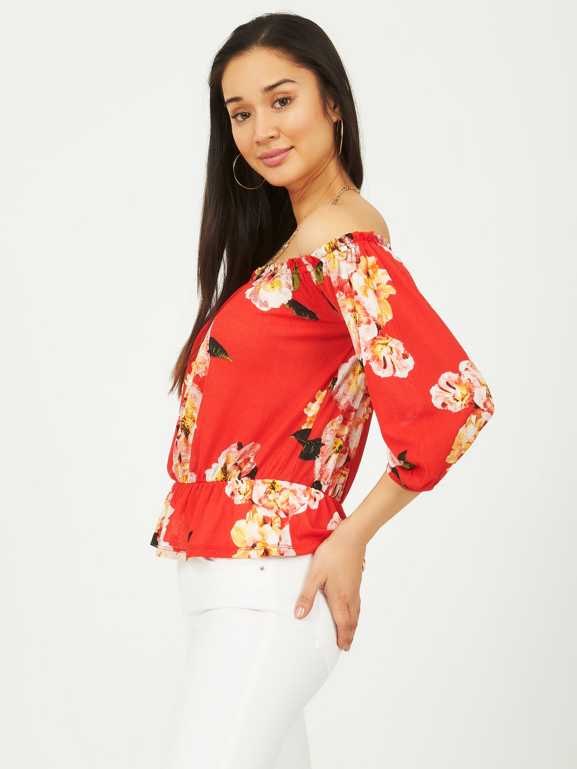1a0ccd904969f 3 4 Sleeve Off-The-Shoulder Top