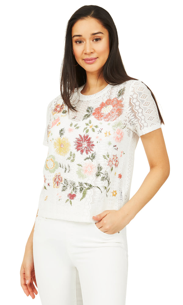 Puff Print Lace T-Shirt