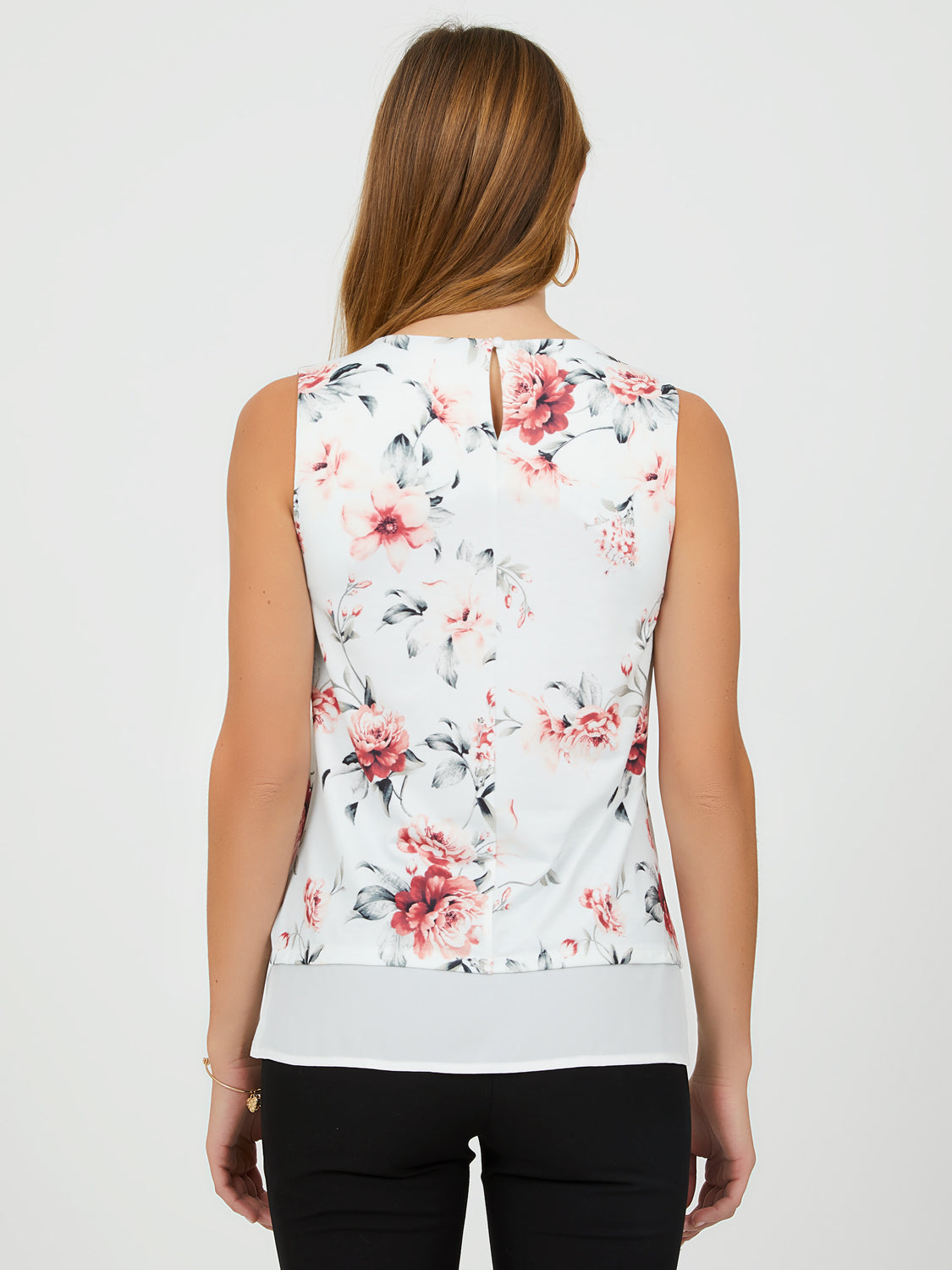 Sleeveless 2-Fer Top with Chiffon Underlay
