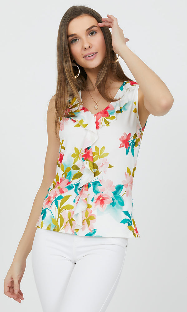 Sleeveless Floral Ruffle Top