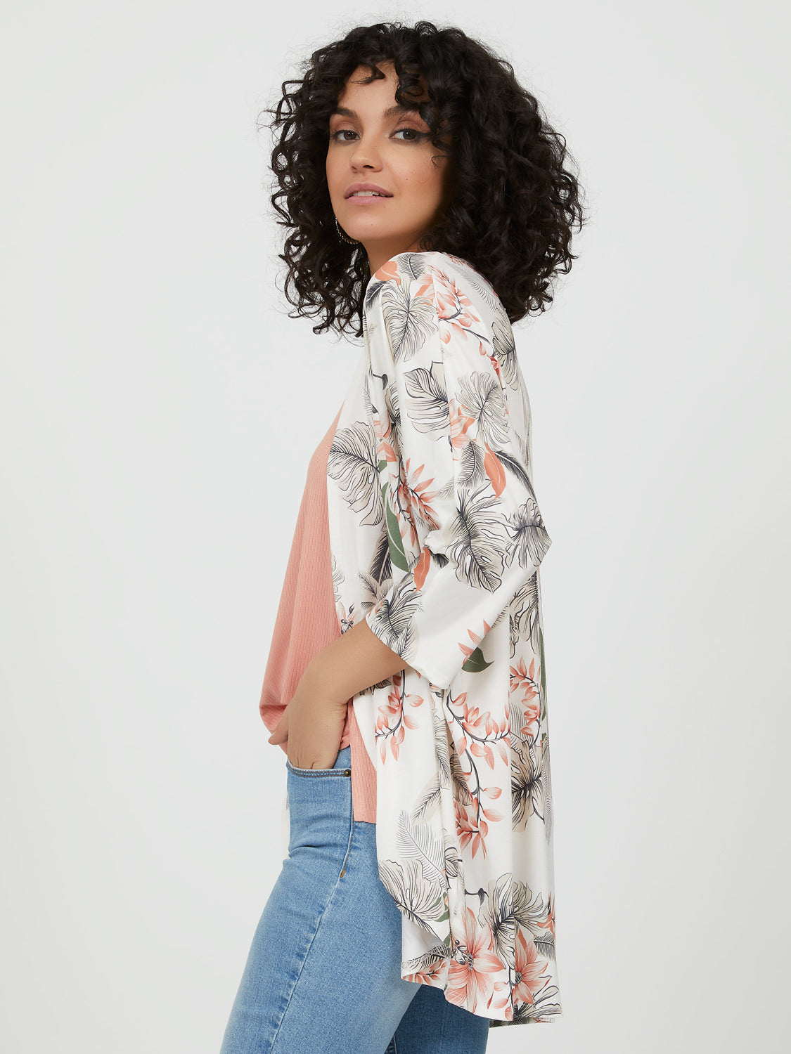 ¾ Sleeve Floral Open Front Cardigan
