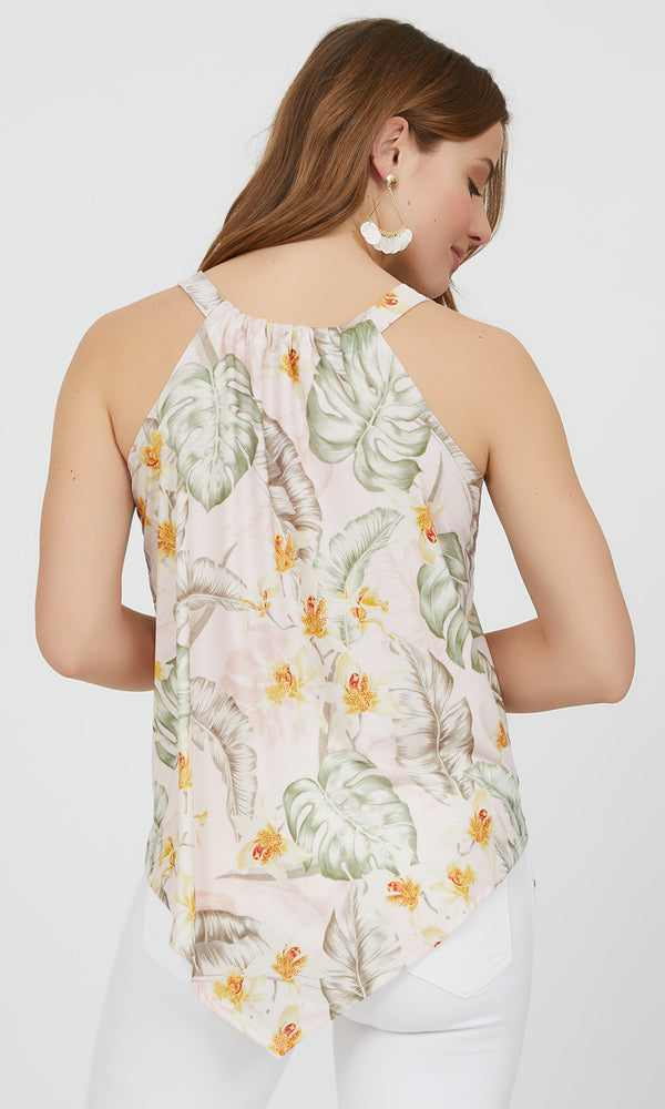 Sleeveless Palm Print Handkerchief Top