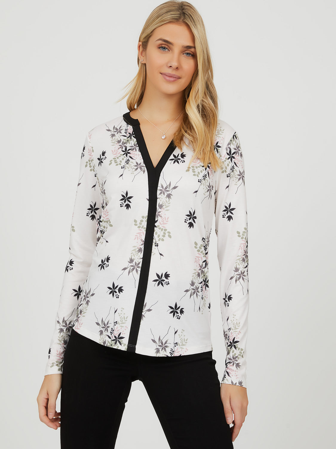 Contrast Piping Floral Popover Top
