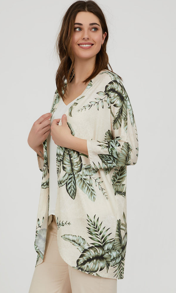 Leaf Print Open Front Cardigan