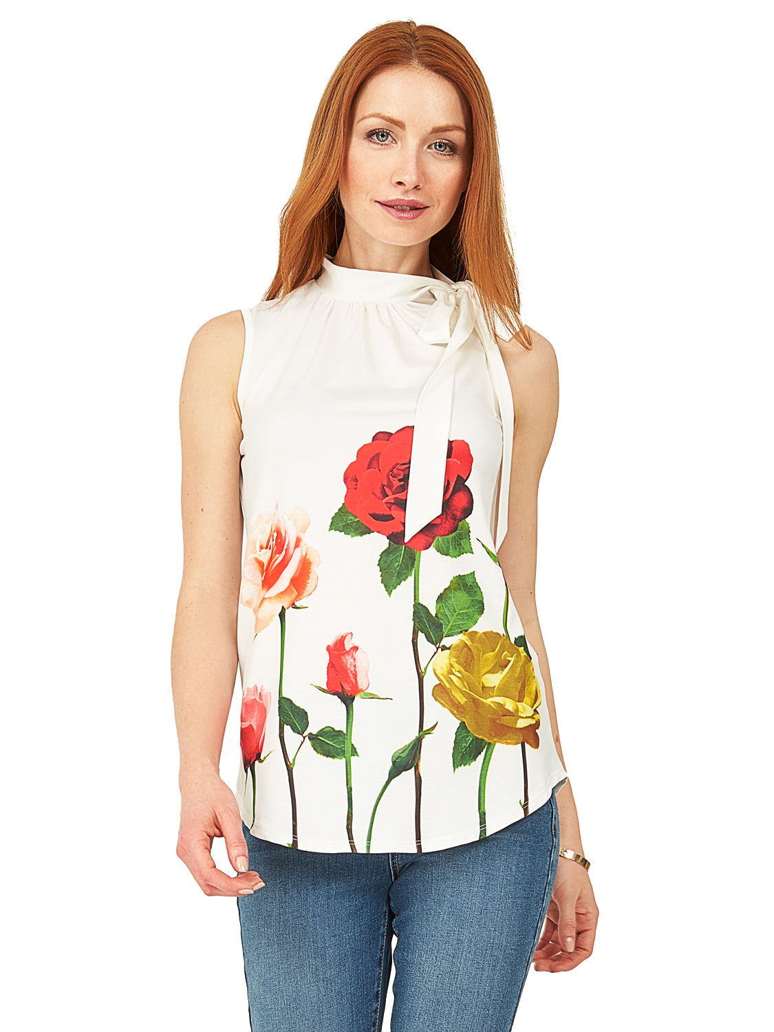 Sleeveless Printed Neck Tie Top