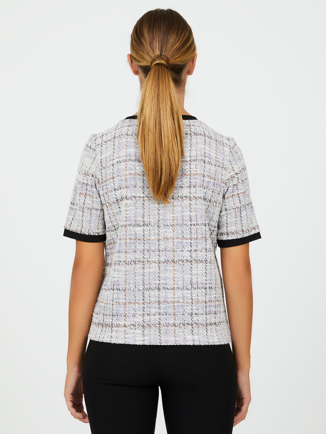 Boucle Plaid Short Sleeve Top