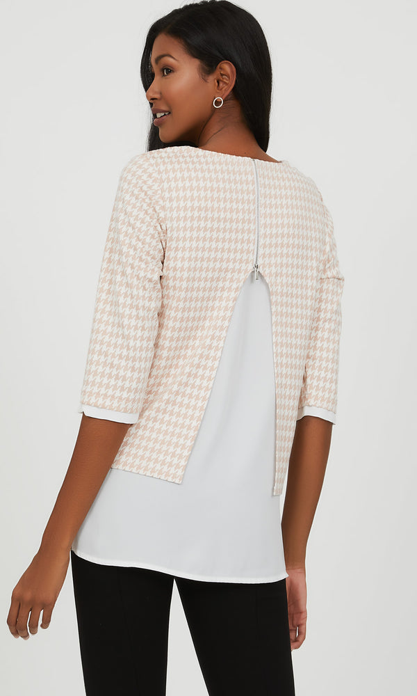 Chiffon & Houndstooth Jacquard 2fer Top