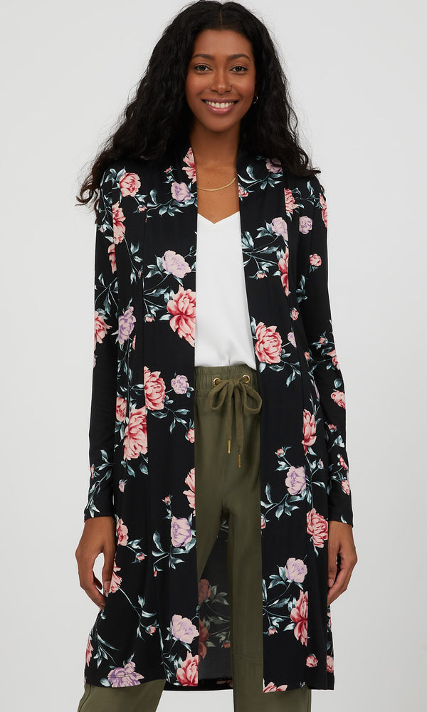 Long Open Front Floral Duster