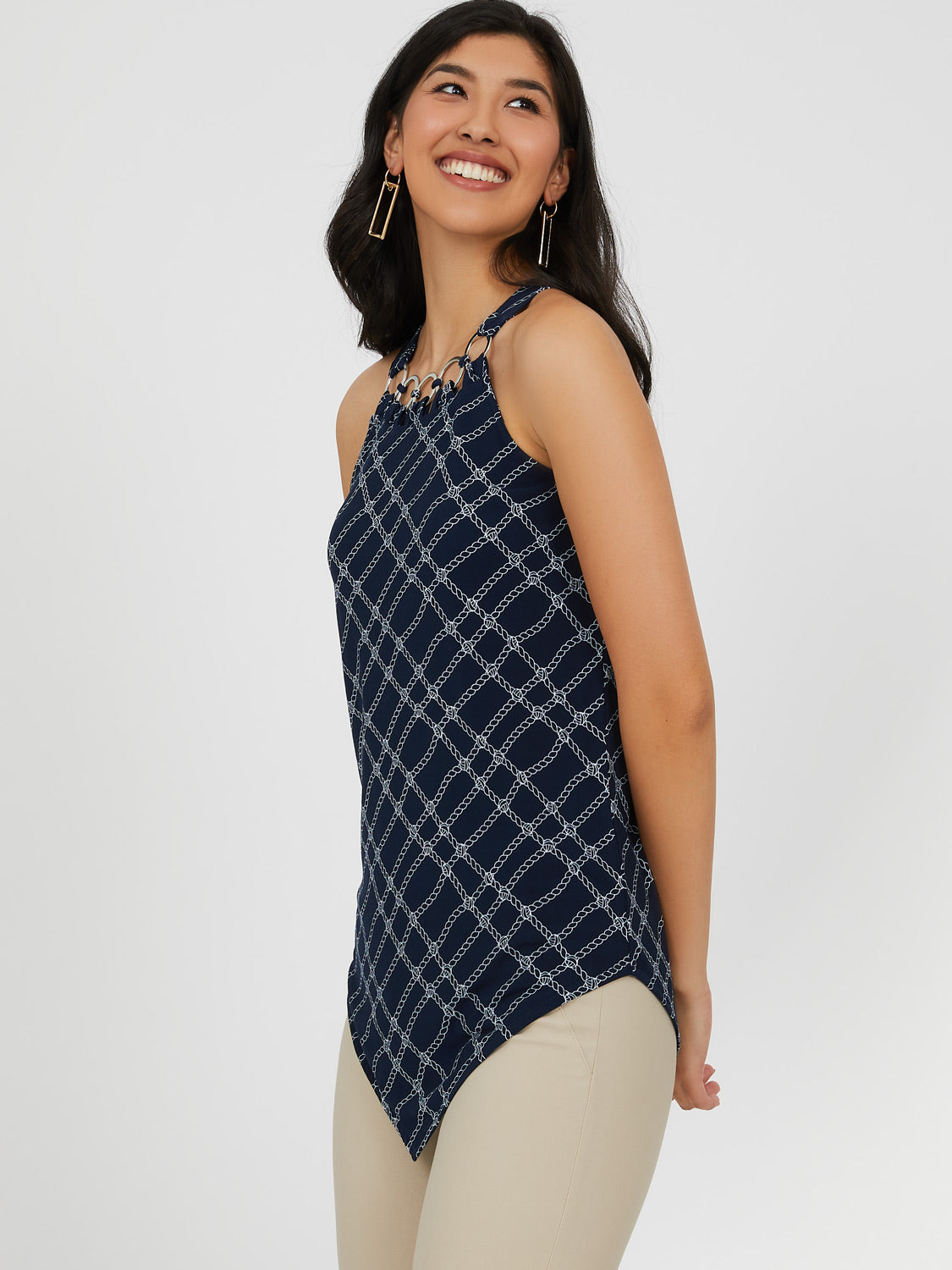 Printed Halter Top Hanker Chief Top