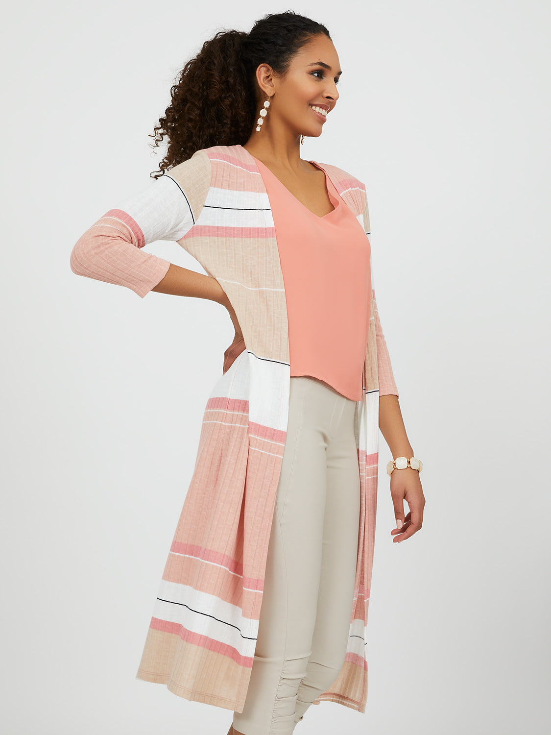 Striped Rib Knit Cardigan Duster