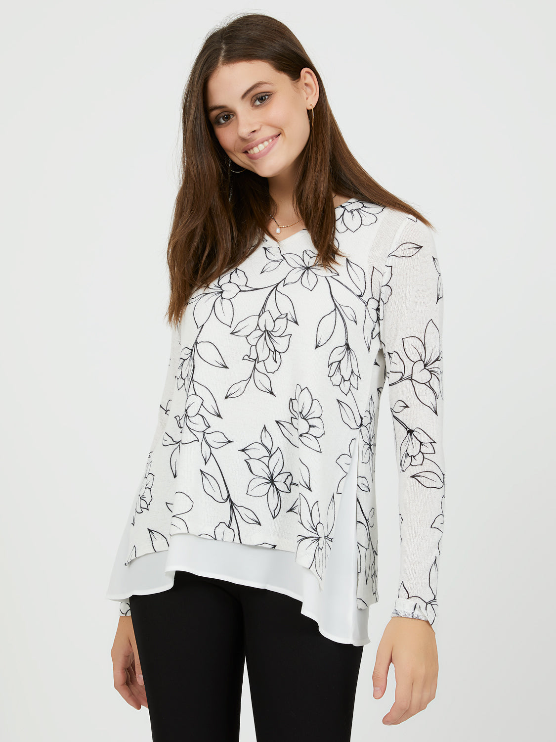 Long Sleeve V-Neck Chiffon Top