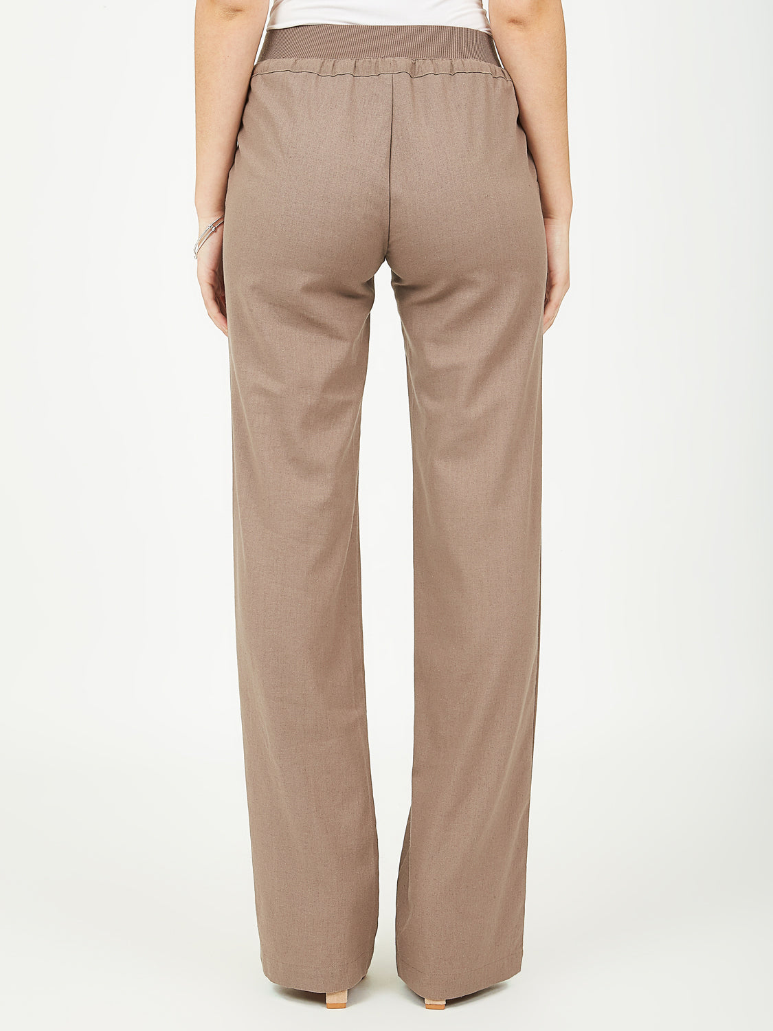 Pull-On Linen Wide Leg Pants