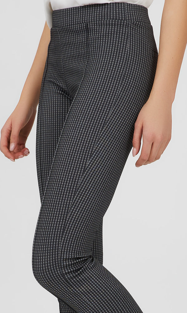 Pintuck Gingham Plaid Knit Pant