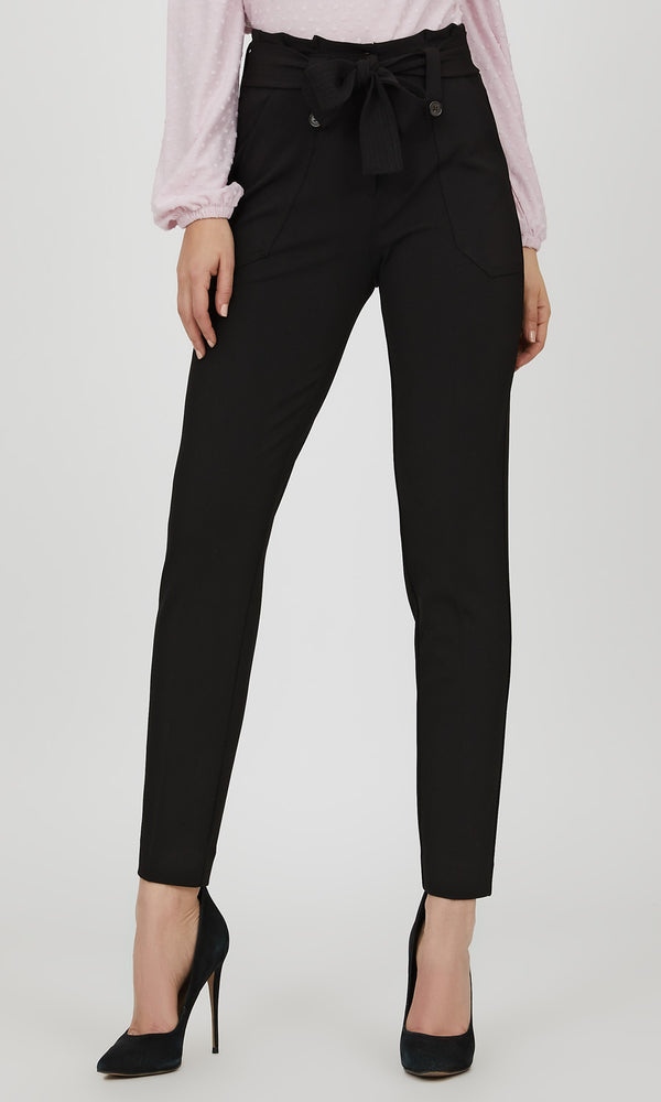 Sash Belt Crepe Knit Pant