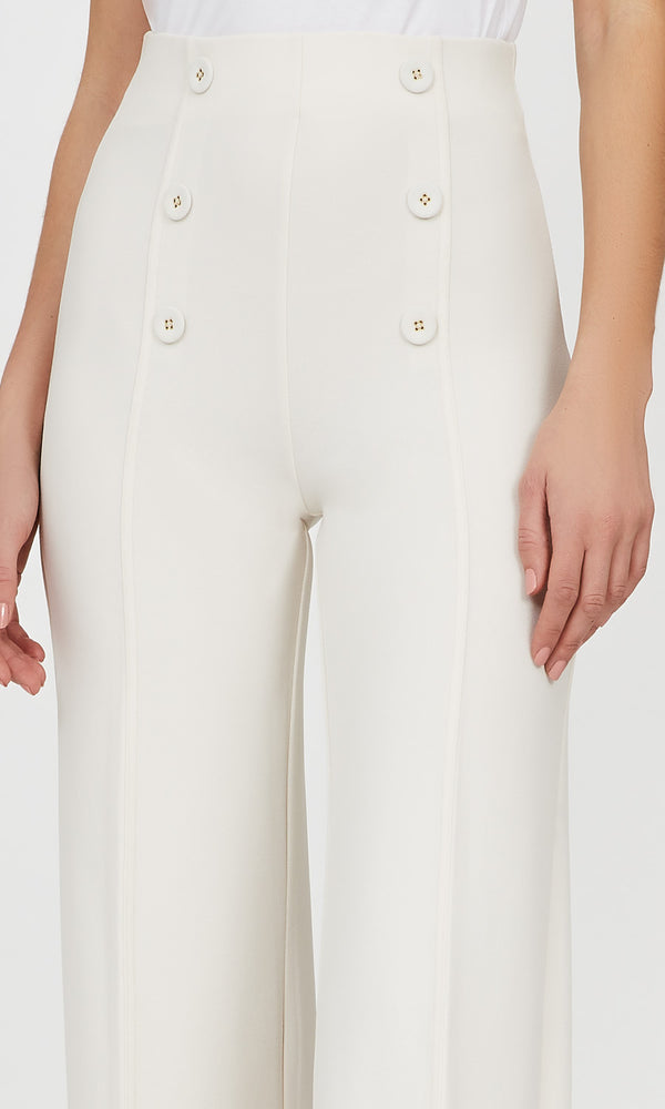 High-Waist Wide-Leg Crepe Knit Pant