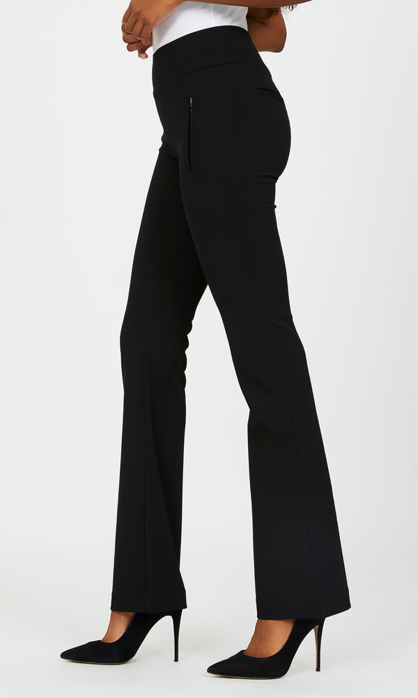 Pull-On Fit & Flare Knit Crepe Pants