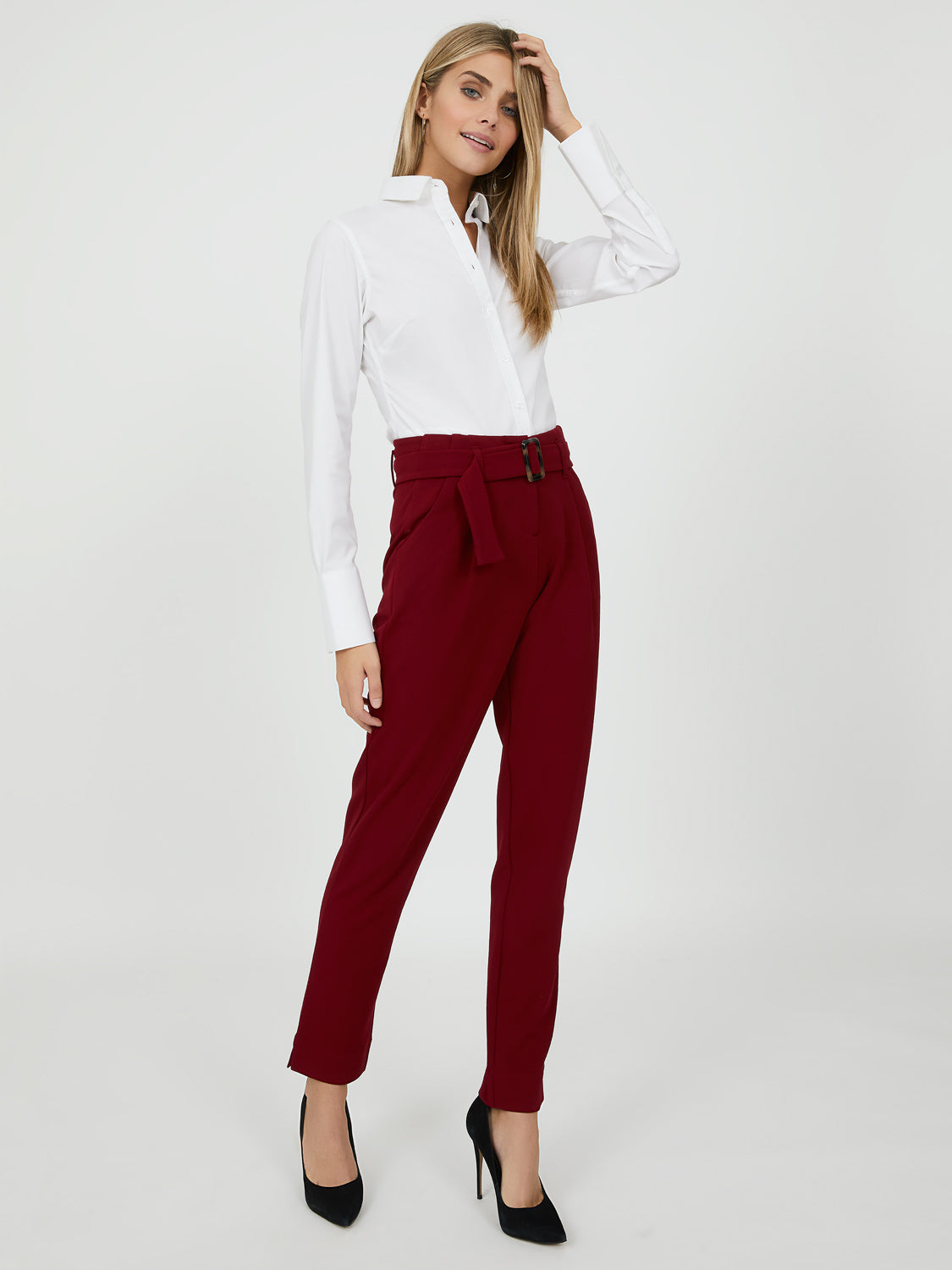 Belted Crepe Knit Pant