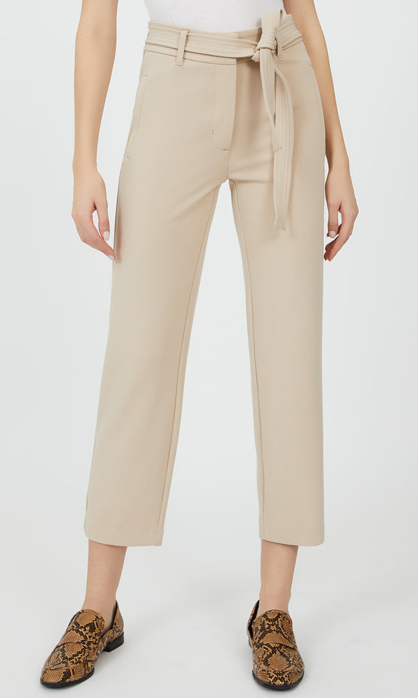 Belted Cropped Crepe Pant