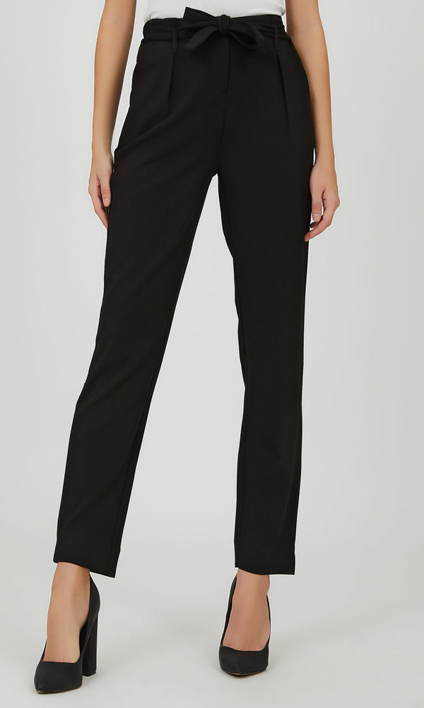 Sash Belt Pleated Front Knit Pant