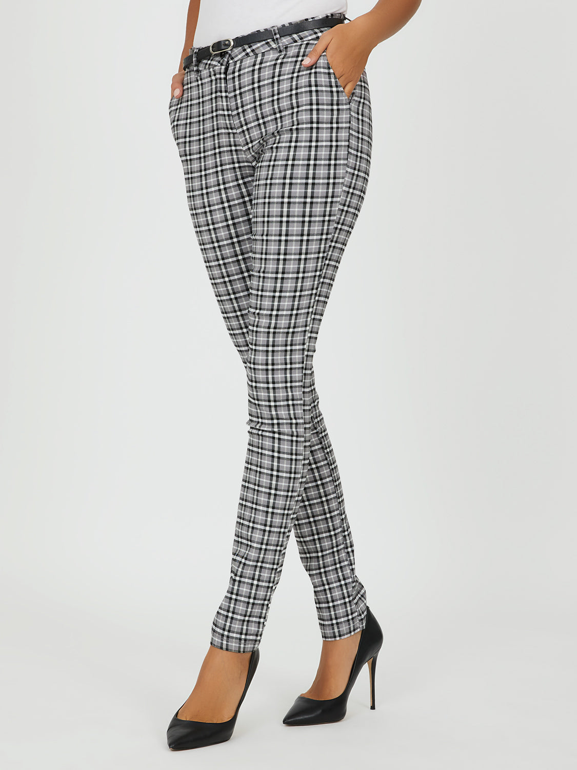 Plaid Menswear Belted Pants