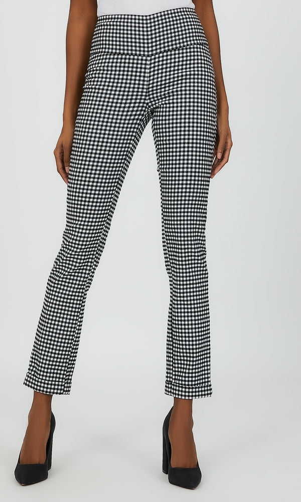 Checkered Slim Leg Pant