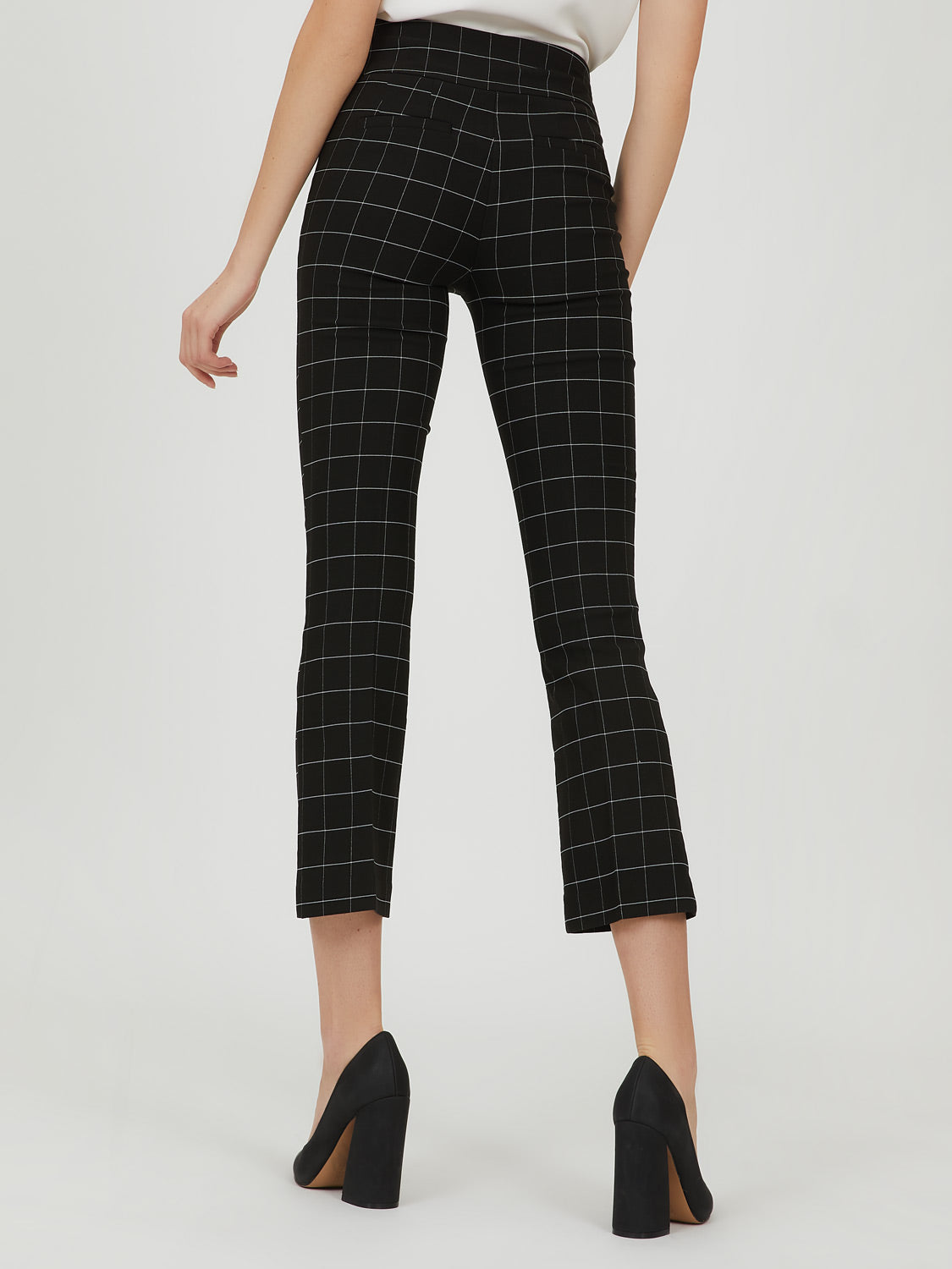 Wide Waist Grid Plaid Cropped Pant