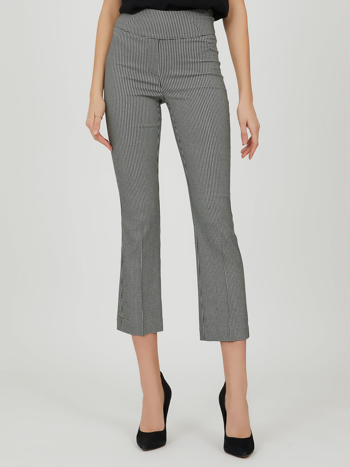 Wide Waist Houndstooth Plaid Crop Pant