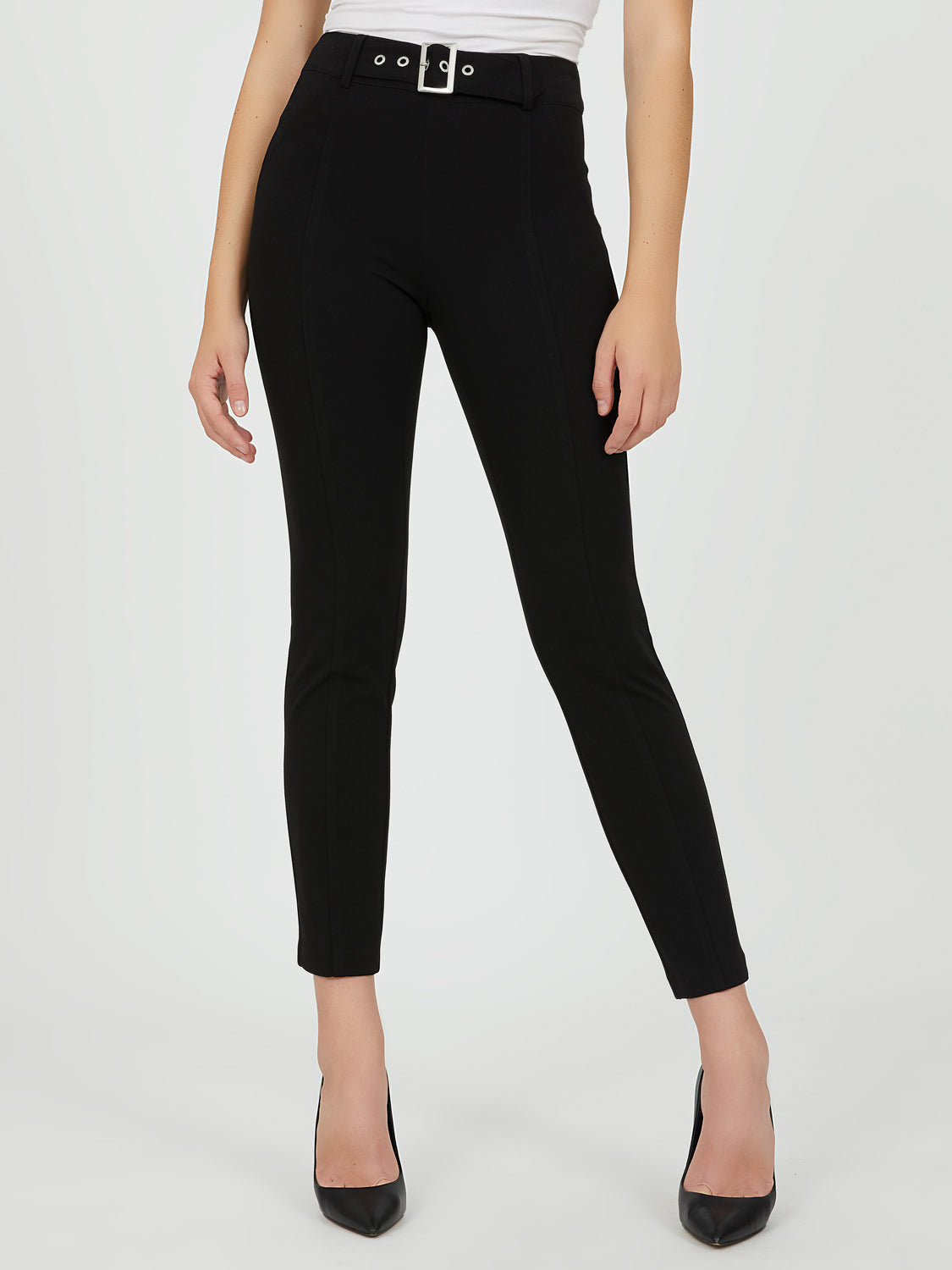 Pull-On Crepe Knit Skinny Ankle Pants