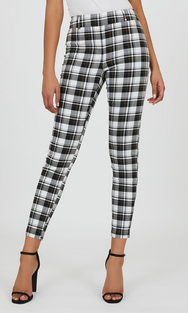 Belted Plaid Slim Fit Pant