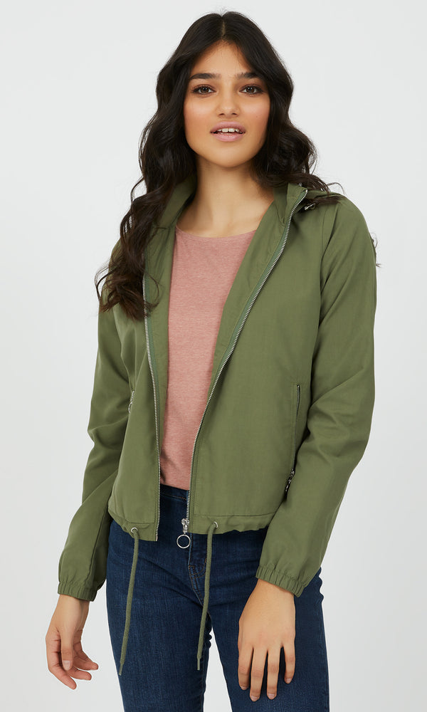 Hooded Soft Shell Cropped Jacket