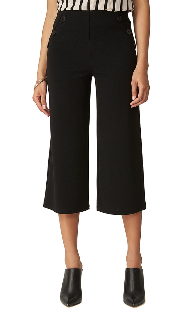 Solid High-Waisted Gaucho Pants