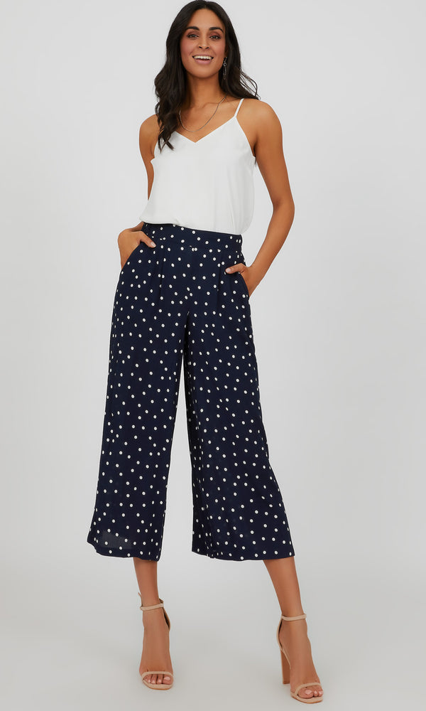 Pull-On Pleated Polka Dot Gaucho Pant