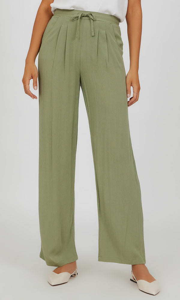 Pull-On Pleated Palazzo Pant