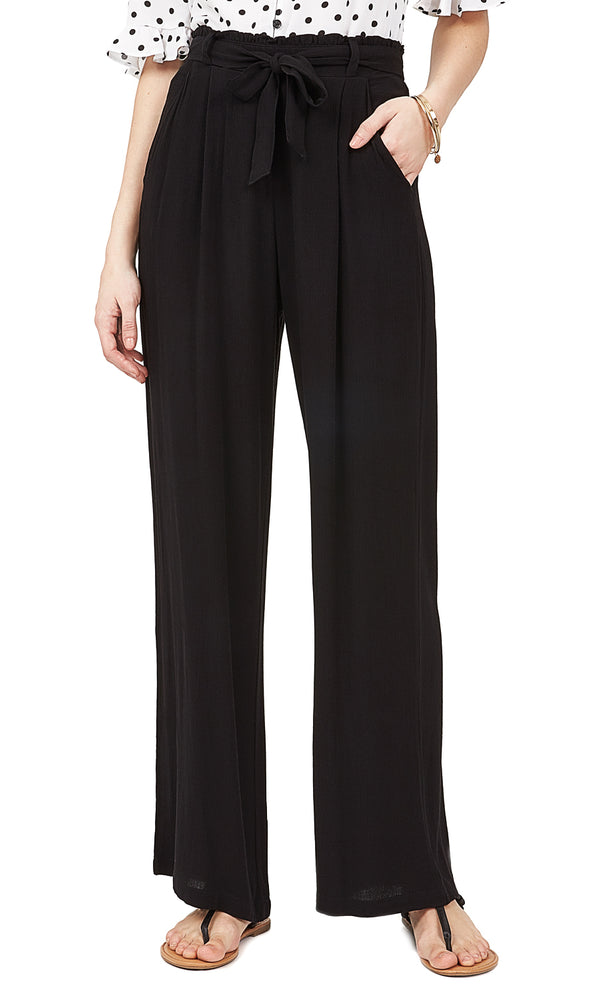 Solid Pleated Palazzo Pants
