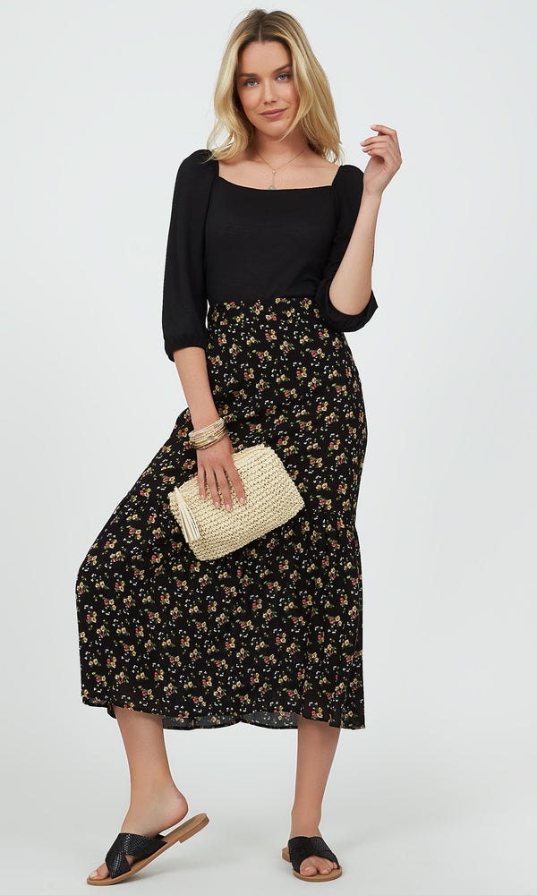 Printed Tiered Midi Skirt