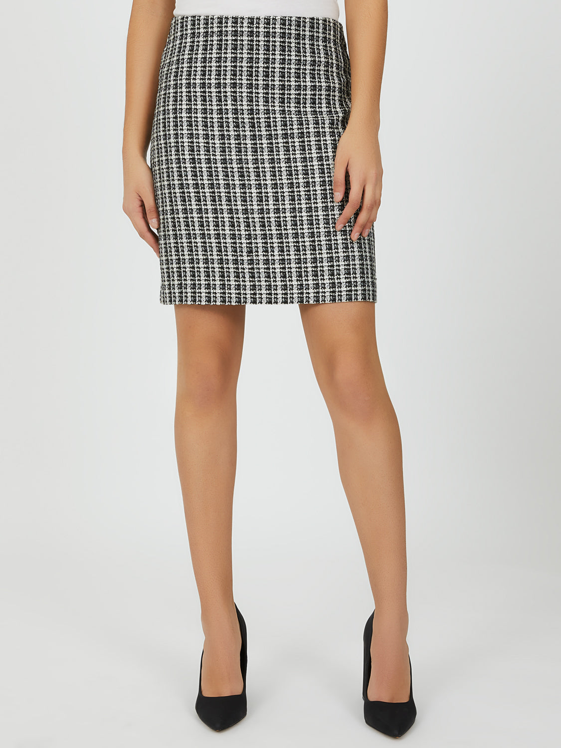Textured Weave Bouclé Pencil Skirt