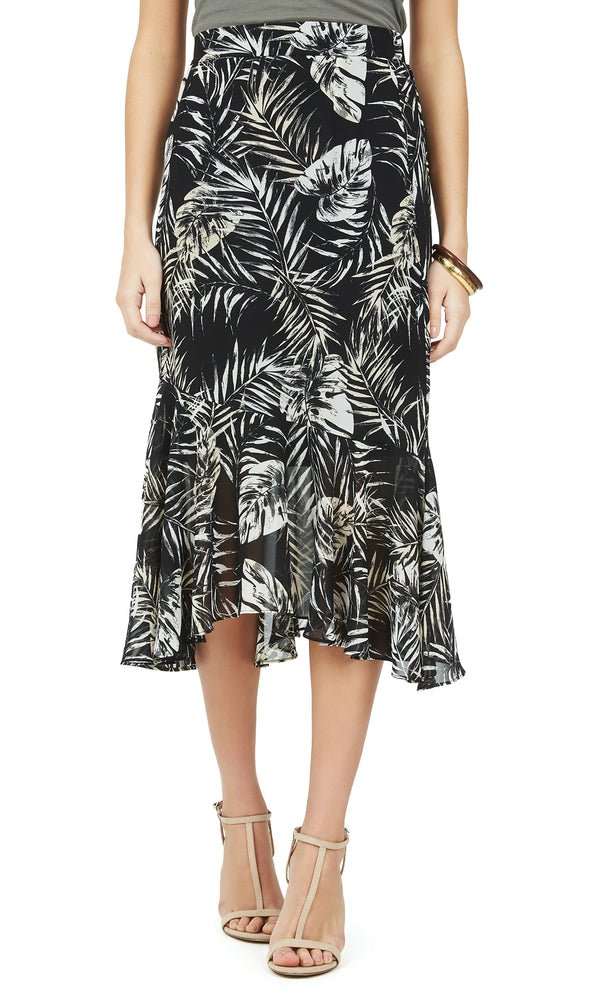 Printed Asymmetric Chiffon Skirt